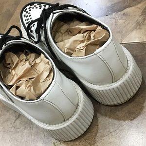 tuk Shoes - TUK White Platform Leather Creepers Shoes 6